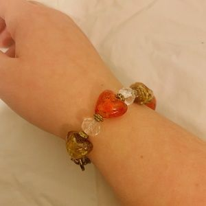 Heart Glass Bead Bracelet